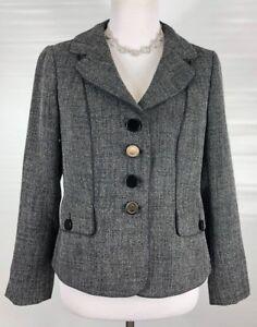 Ann-Taylor-Women-039-s-Gray-Blazer-Size-Petite-10p-Jacket-Textured-Career-Business