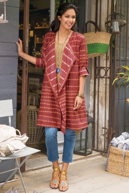 SOFT SURROUNDINGS Tea House Topper Kimono- Cajun rot-NEW- SZ XLarge