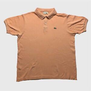 Vintage Pour Homme Polo Lacoste Gros Pêche orange à manches courtes en coton