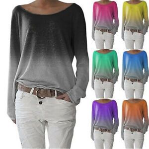 Womens-Long-Sleeve-Sweatshirt-Ombre-Loose-Holiday-Blouse-T-Shirt-Tee-Ladies-Tops