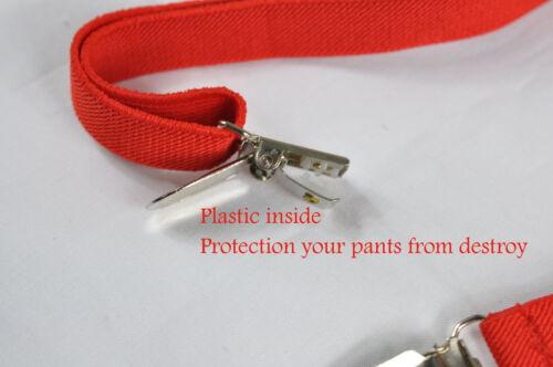 Men Red X-BACK Adjustable Skinny Pants Suspenders Braces Elastic 1.5CM 4 Clips