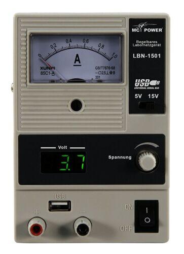 LABORNETZGERÄT 0-15V regelbar 1A /& 5V USB Hobby Werkstatt Netzgerät LBN-1501