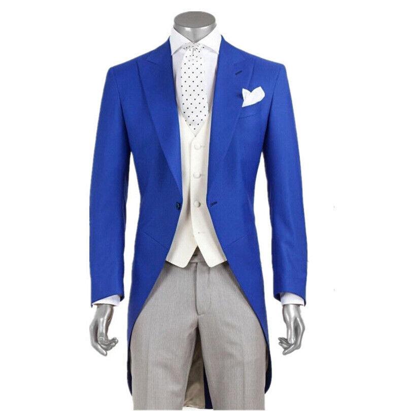 Men's suits Fashion Royal bluee Groom Long Tailcoat Tuxedo Best Man Wedding Suits
