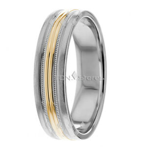10K Gold Two Tone Wedding Band Ring, Mens & Womens, 6mm Wide Wedding Bands