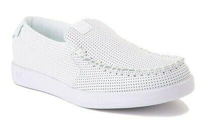 DC Shoes Mens Sz 11 Villain White Nubuck Leather Slip On Loafer Skate 301361