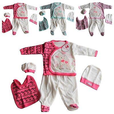 BABY Erstlingsset Starterset Babyset Mädchen Jungen 5-tlg Pink Rosa Grün Reh 62