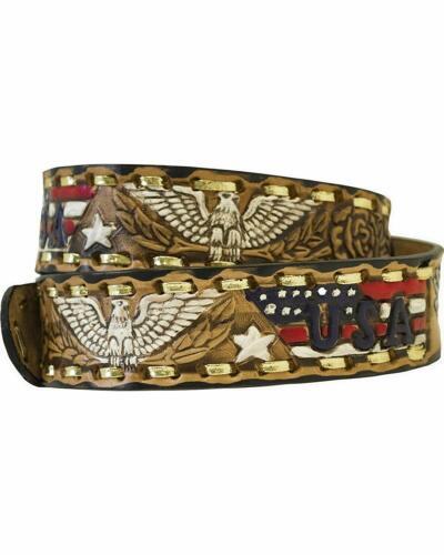 Western Express Men/'s Eagle And Usa Tooled Belt Size 44 # Xm-230