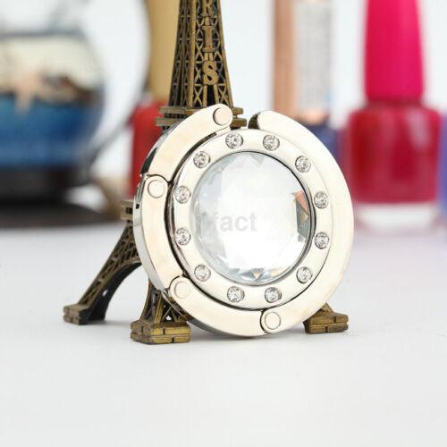 Mini Foldable Metal Crystal Hook Hanger Holder For Women/'s Purse Handbag Bag US