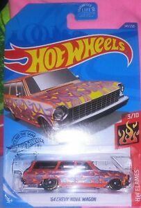 HOT WHEELS 2020 FLAMES #3//10 /'64 CHEVY NOVA WAGON  Orange Flames