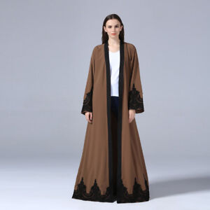 Muslim Women Dress Cardigan Lace Abaya Dubai Arab Islamic Robe ... 60ce04e5341