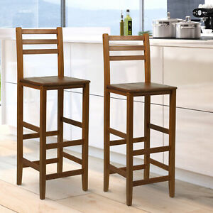 Amazing Details About 2Pc 43H Counter Height Chair Patio Bar Stool Armless Seat Acacia Wood Indoor Gamerscity Chair Design For Home Gamerscityorg