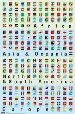 COUNTRIES 11110 FLAGS OF THE WORLD BY COLOR POSTER 24x36
