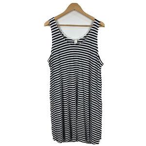 H-amp-M-Womens-Shift-Dress-Size-XL-Striped-Sleeveless-Blue-White-Good-Condition