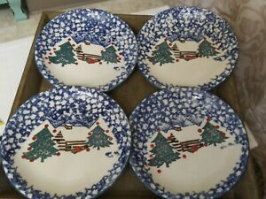 4 Tienshan Folkcraft CABIN IN THE SNOW Lunch/Salad Cottage Lodge Christmas 7.75""