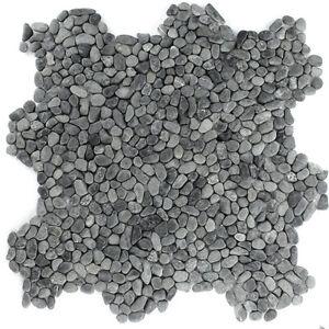 Das Bild Wird Geladen Kieselstein  Flussstein Kiesel Stein Mosaik Fliesen Schwarz Mini