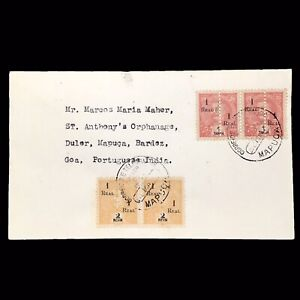 Portuguese-India-1911-Overprinted-Republic-Halved-Each-Half-Surcharged-Cover