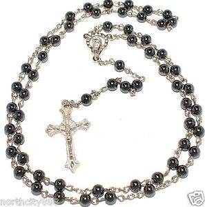 """Rosary Necklace Black Religious Rosarie black Hematite beads silver cross 31"""""""