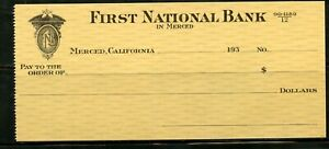 US FIRST NATIONAL BANK OF MERCED, CALIFORNIA UNUSED CHECK 193??