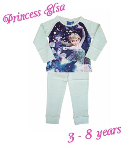 Girls Kids Princess Elsa Frozen Disney Pyjamas PJs Set Long Sleeves Snuggle Fit