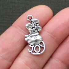 15 Snowman Joy Charms Winter Holidays Christmas Charm Antique Silver 13x29 3427