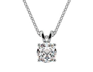 .75 ct. White Sapphire Solitaire Pendant Necklace in 14k White Gold/ S. Silver