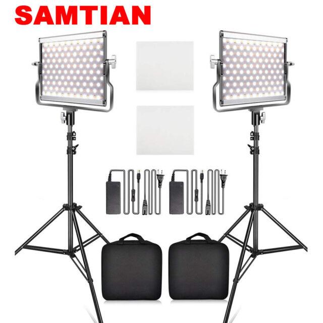 Samtian 2pcs Kit Dimmable Bi Color Led Video Light Photo Studio Lighting Stands