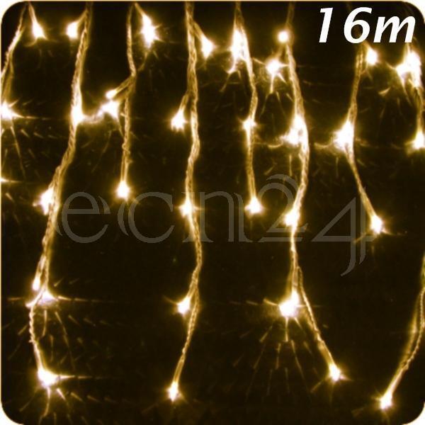 LED Eiszapfen Lichterkette 16m statisches Licht 320 LED Deko Weihnachten