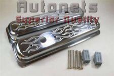 Sbc Tall Centerbolt Valve Covers Flame Polish Aluminum Small Block Chevy 5 57l