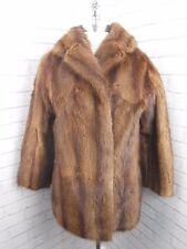 Superb Ladies Vintage Short Brown Mink Dyed Musquash Real Fur Jacket Coat 10/12