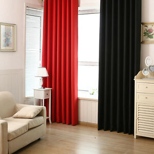 Details about Solid Color Blackout Curtains Bedroom Living Room Modern  Curtain Shading Curtain