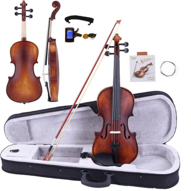 Glarry 4 4 Classic Solid Wood Adult Retro Acoustic Violin Case Bow Rosin Tuner For Sale Online Ebay