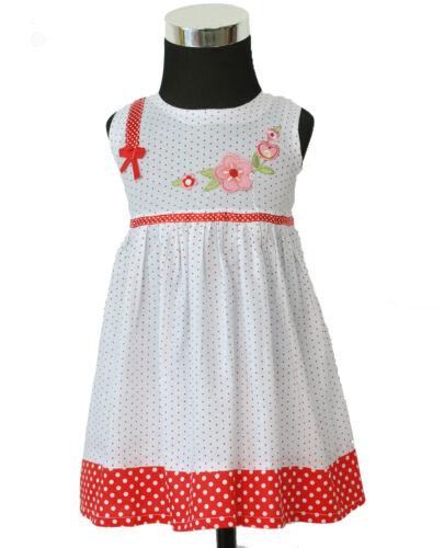 Nouveau bébé filles blanc et rouge pointillé coton robe de soirée en 0-3,3-6,6-9 Mois