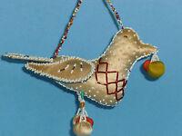 Iroquois Indian Beaded Bird Pin cushion Silk Fabric Beads Antique Folk Art