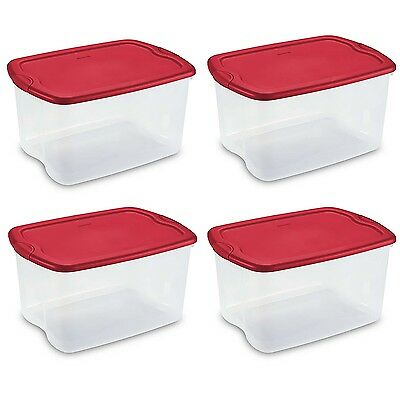 Sterilite 66 Quart Latch and Carry Storage Tote, Clear with Red Lid (4 Pack)