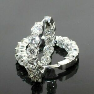 Certified-2-10Ct-Round-Cut-Diamond-Huggie-Hoop-Earrings-Solid-14K-White-Gold