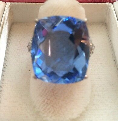 22.56 CT GORGEOUS TANZANITE   BLUE  QUARTZ 14k WHITE GOLD OVER SILVER RING SZ 6