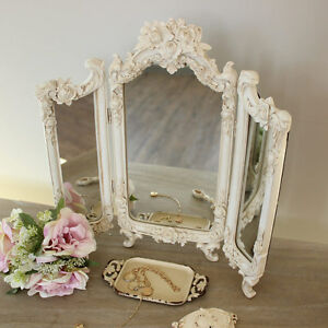 Ornate-cream-rose-triple-mirror-bedroom-vanity-dressing-table-shabby-French-chic