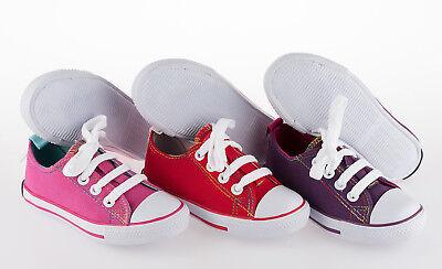 Niñas Lona Zapatillas Con Cordones Tallas 5 a 8.5