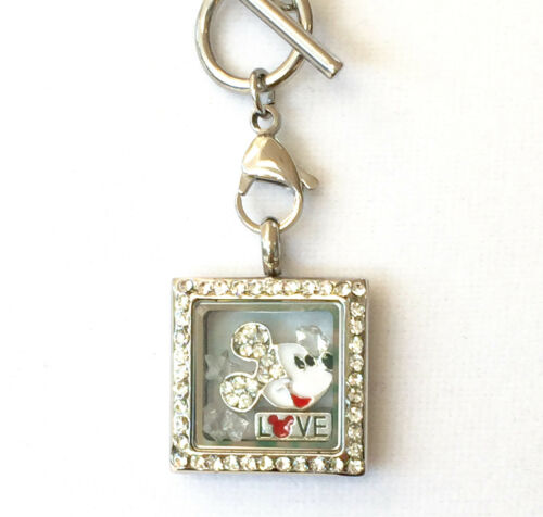 """22mm Mini square locket with crystals mickey head and 16/"""" rolo toggle chain"""