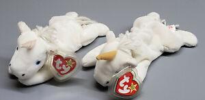 2 TY Beanie Babies MYSTIC Unicorns w tags,Iridescent & Tan Horn,Coarse Yarn Mane