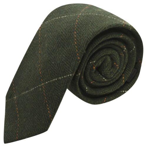 Homme Cravatte Luxe Herringbone Vert Forêt Tweed Cravate