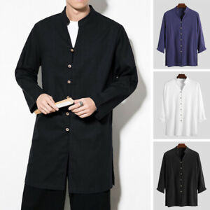 Men-039-s-Japanese-Kimono-Long-Sleeve-Cotton-Linen-Shirts-Long-Cardigan-Coat-Top-Tee