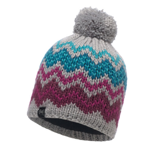 Buff Ski Danke Primaloft Knitted Beanie Bobble Hat Light Grey