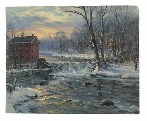 Vintage-Postcard-Winter-Scene-House-by-River-Unposted