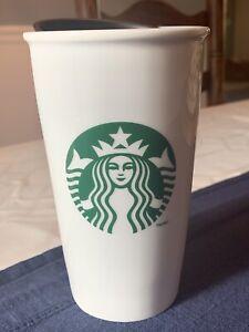 Starbucks Double Wall White Ceramic Coffee Travel Tumbler Mug Mermaid Logo 12oz | eBay