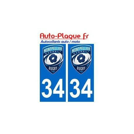34 montpellier rugby MHRC autocollant plaque sticker -  Angles : droits