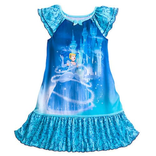Disney Store Cinderella Nightshirt Nightgown Princess Blue New