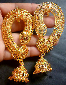 Image Is Loading 22k Gold Plated Indian Full Ear Earrings With