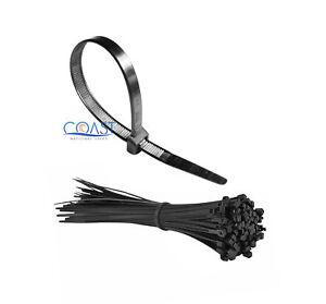 "12"" Black Plastic Cable Wire Zip Tie Lock Tie - 100 pcs"
