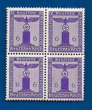 Nazi Germany Third 3rd Reich POST eagle swastika 6 pf Franchise stamp block B